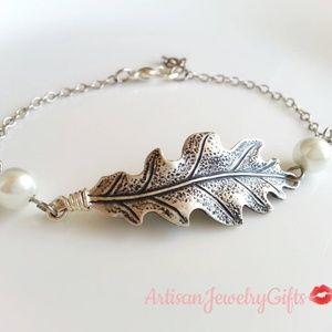 Antique Silver Oak Leaf Pearl Bracelet